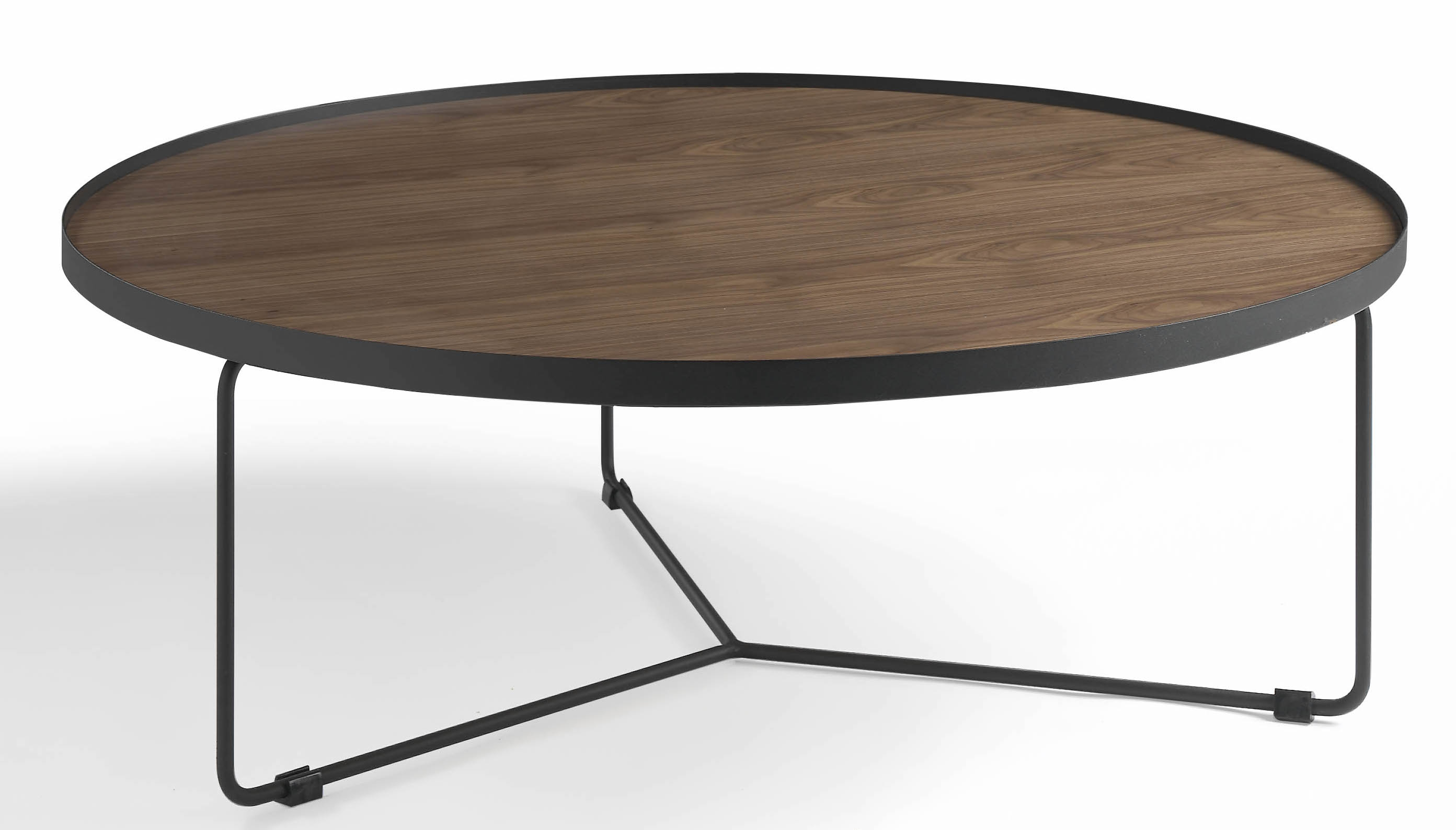 Table basse ronde bois noyer et m tal noir noka for Table ronde bois metal