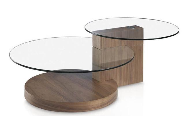 Table Basse Ronde Bois Noyer Et Verre Trempe Lona