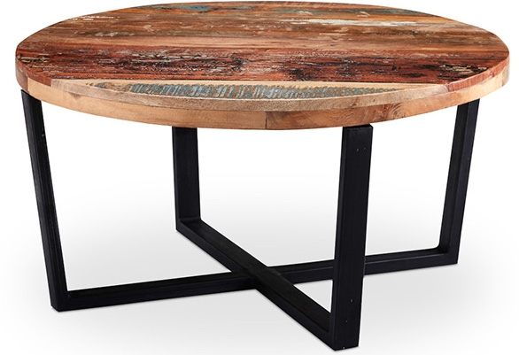 table basse ronde bois recycl peint la main artiste. Black Bedroom Furniture Sets. Home Design Ideas