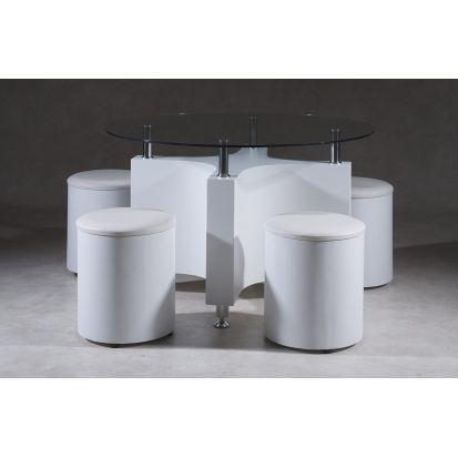 table basse ronde et 4 poufs blanc quadri. Black Bedroom Furniture Sets. Home Design Ideas