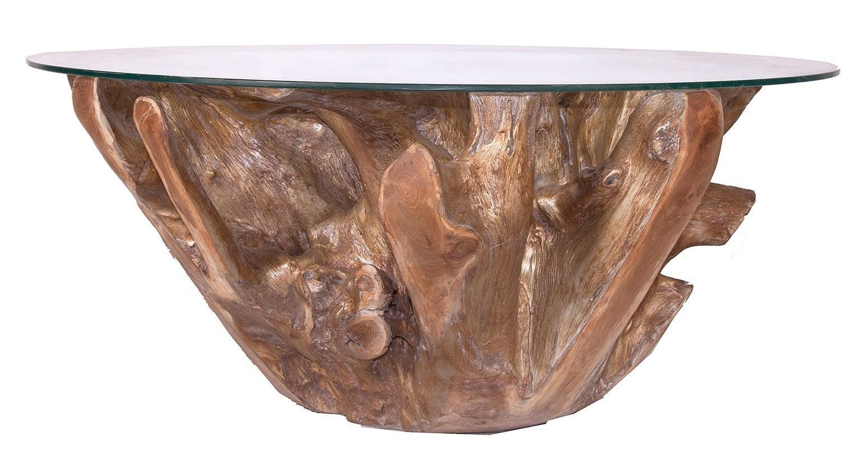 table basse ronde ethnique teck massif dor et plateau verre zouar. Black Bedroom Furniture Sets. Home Design Ideas