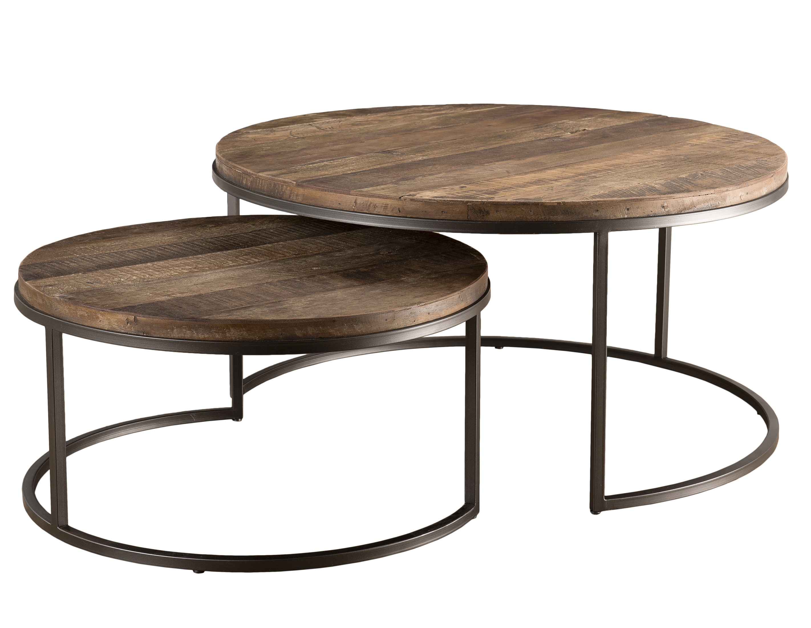 table basse gigogne bois massif acacia et m tal panka. Black Bedroom Furniture Sets. Home Design Ideas