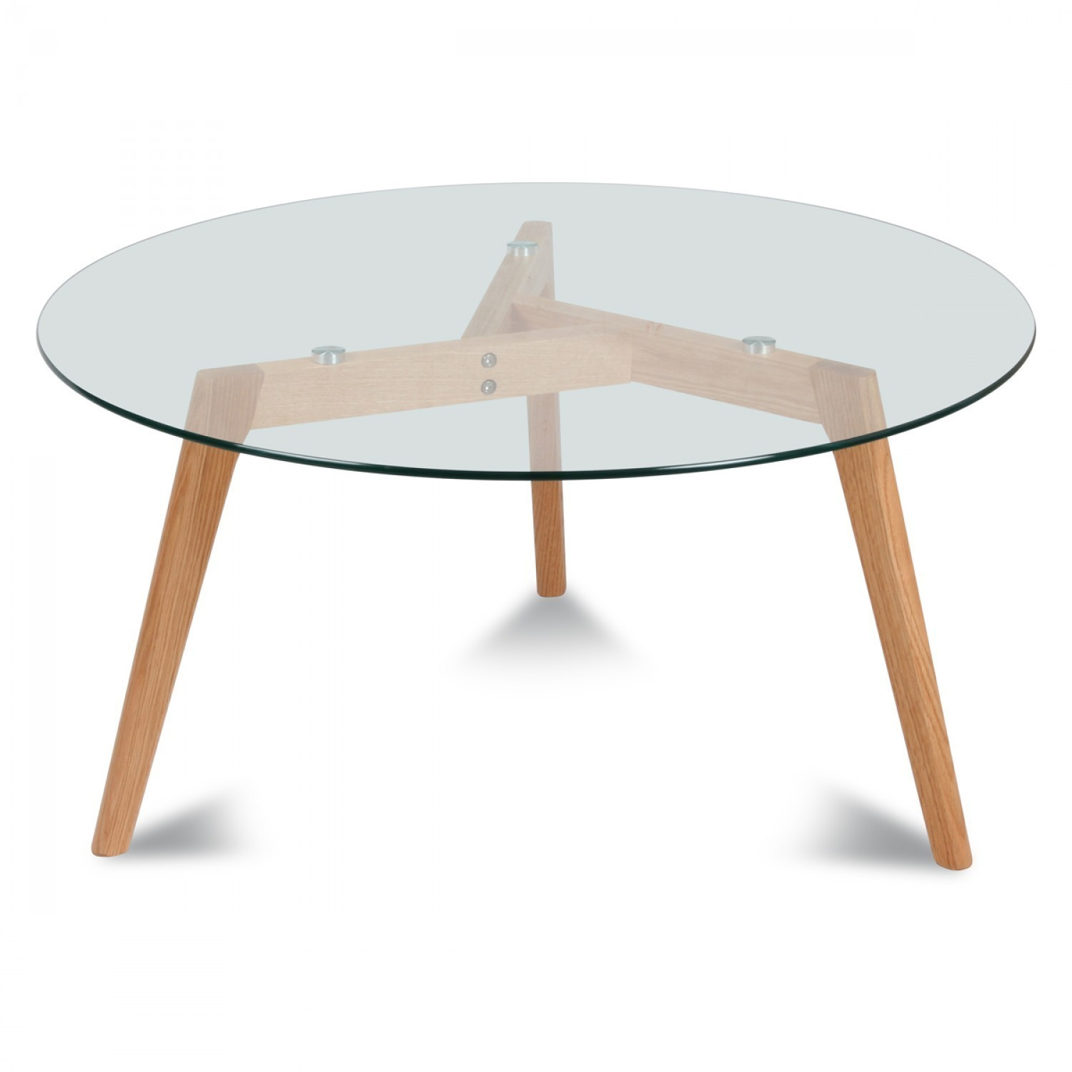 Table basse ronde verre et bois scandinave fiord 60 - Table basse scandinave ronde ...