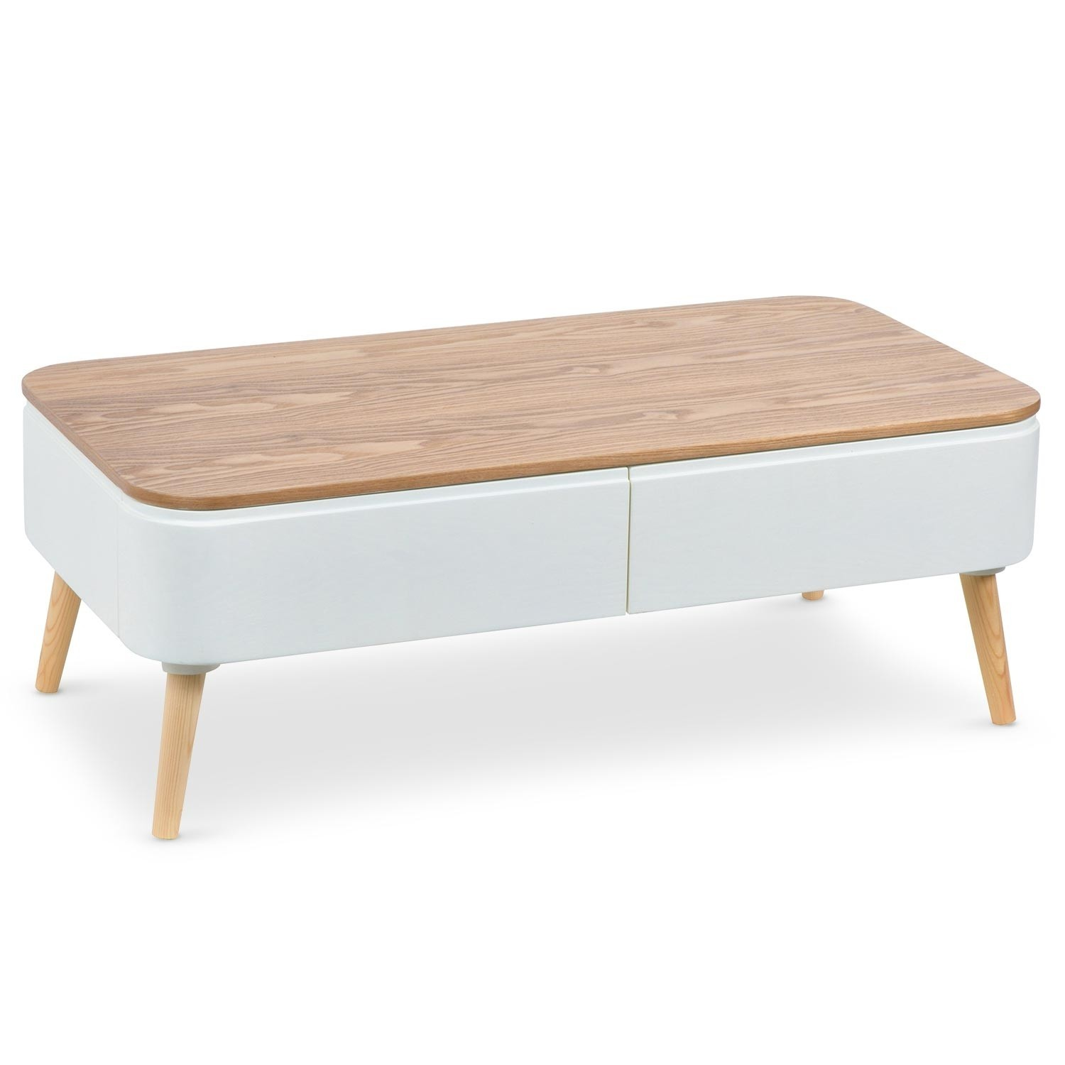 Table basse naturel et blanc skondu - Table basse bois et blanc ...