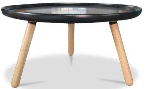 table basse scandinave fibre de verre noir et bois naturel. Black Bedroom Furniture Sets. Home Design Ideas