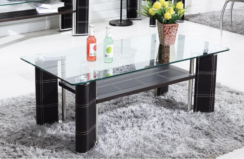 table basse simili noir et verre tremp kuira. Black Bedroom Furniture Sets. Home Design Ideas