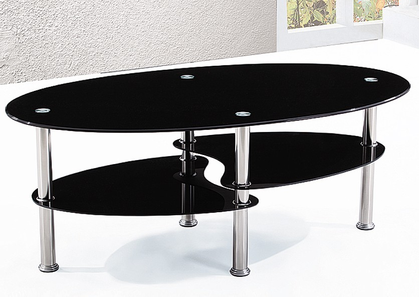 Table basse verre tremp noir liza - Table basse verre trempe noir ...