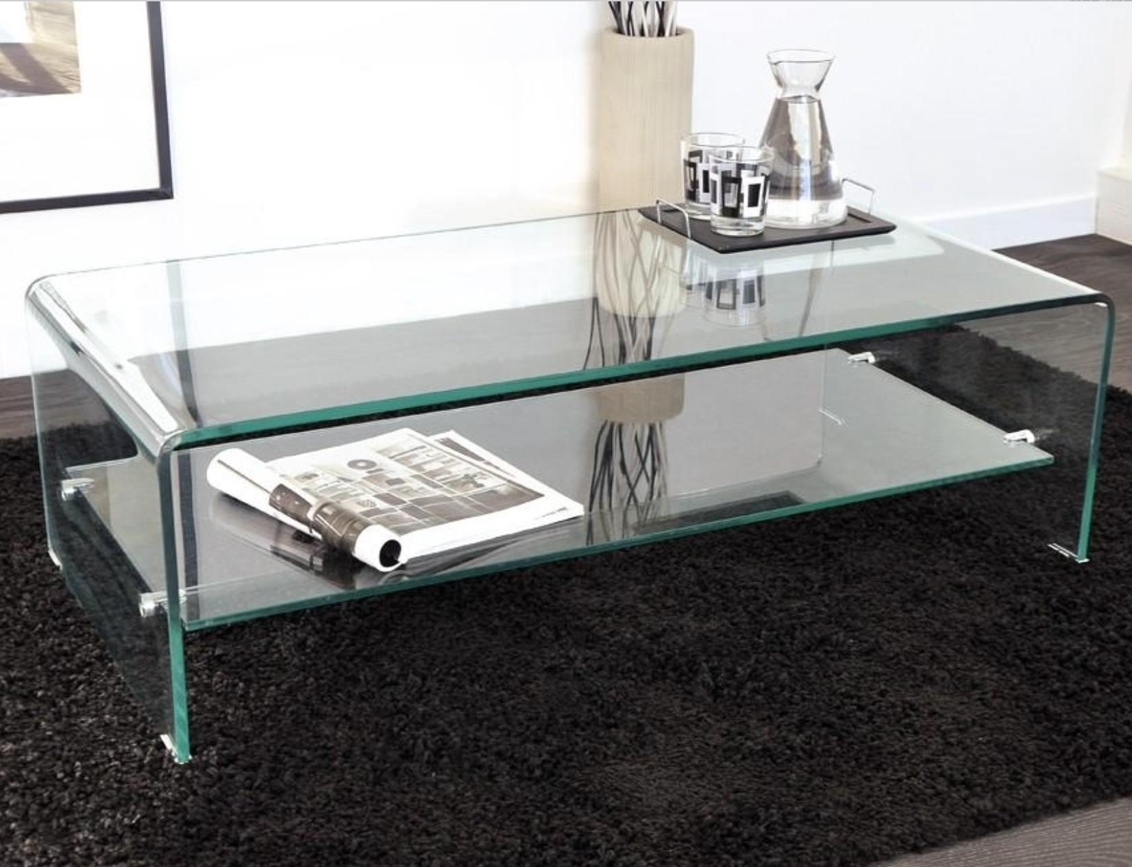 Table basse verre tremp stella for Table de television en verre