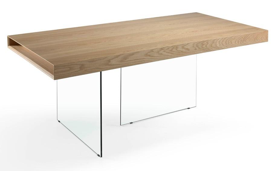 table bois plaqu ch ne et pieds verre tremp zooka. Black Bedroom Furniture Sets. Home Design Ideas