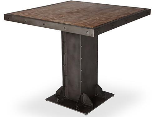 table carr e bois massif et m tal recycl kant. Black Bedroom Furniture Sets. Home Design Ideas