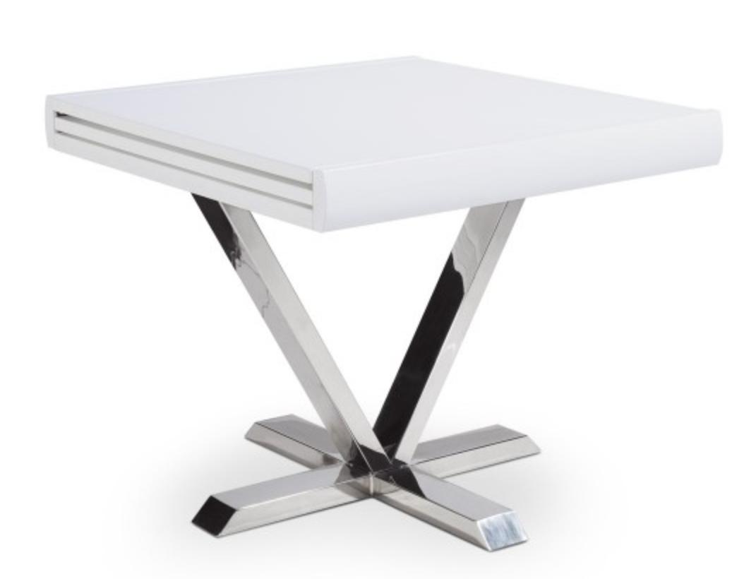 Table carr e extensible blanche selena 90 180 cm for Table blanc laquee carree extensible