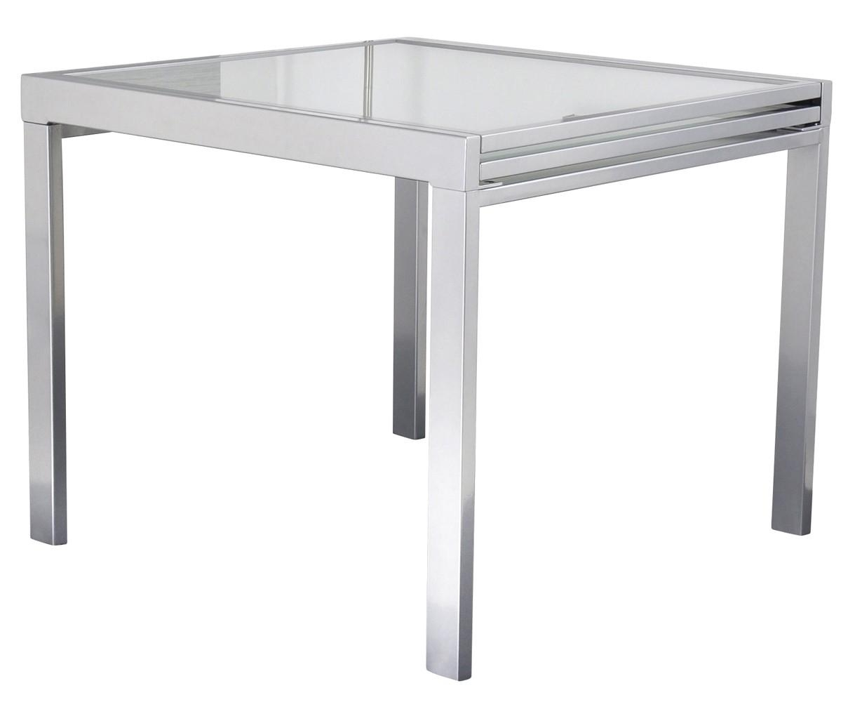 Les tendances table carr e extensible grise for Table verre blanc extensible
