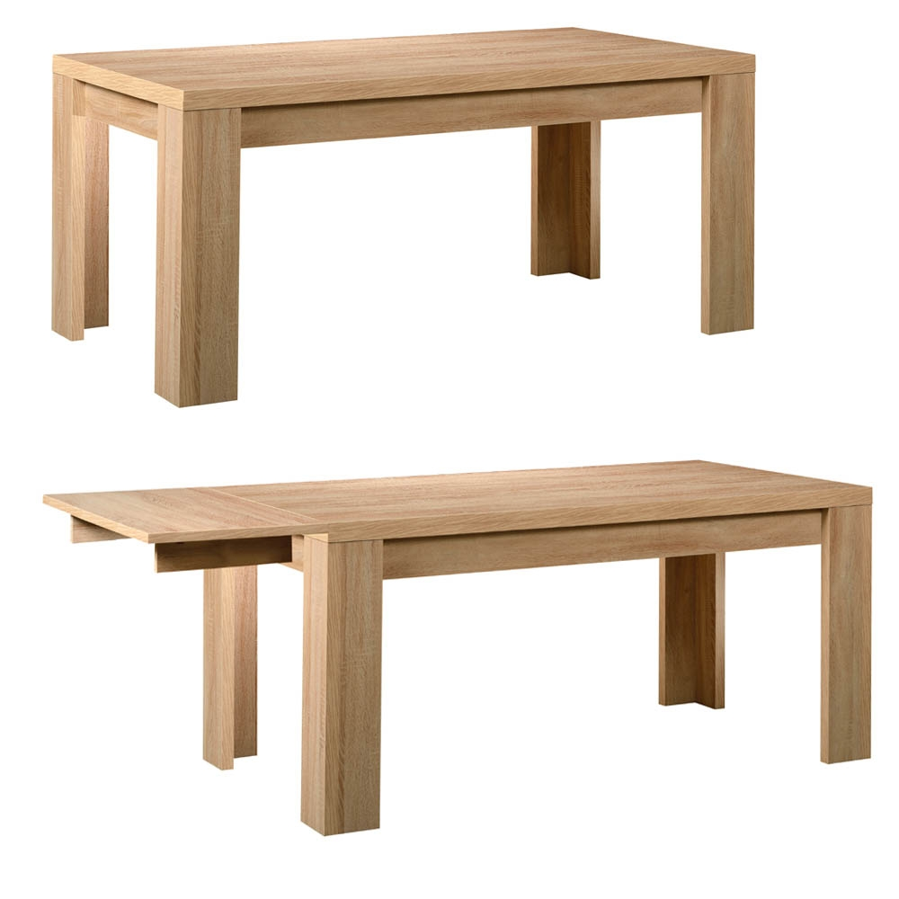 Table ch ne clair avec allonge season for Table bois rectangulaire avec allonges