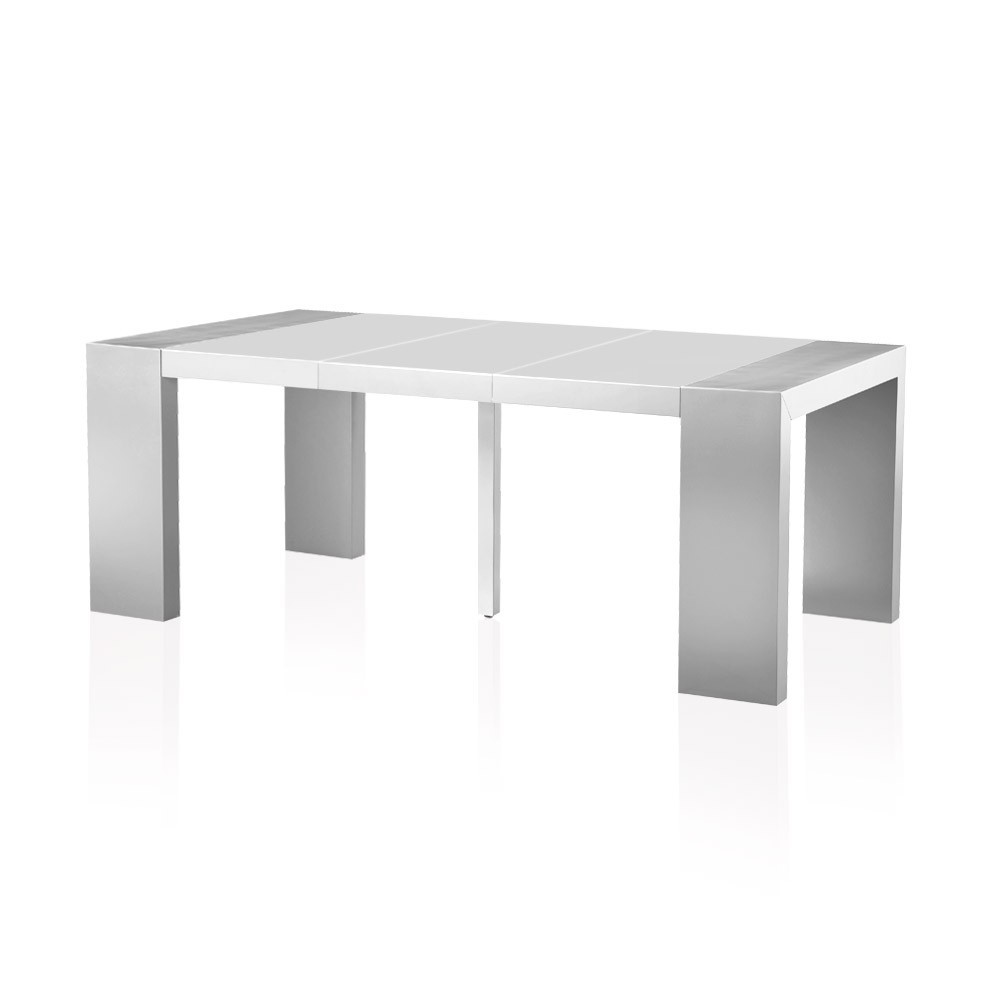 table console extensible gris et blanc laqu e 50 200 cm 10 personnes. Black Bedroom Furniture Sets. Home Design Ideas