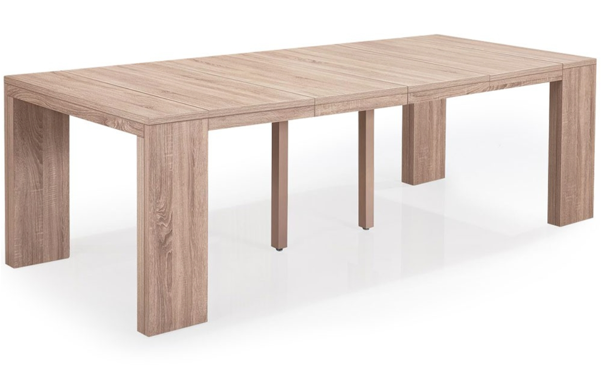 Table console extensible ch ne clair 50 250 cm 12 for Table extensible jusqu a 14 personnes