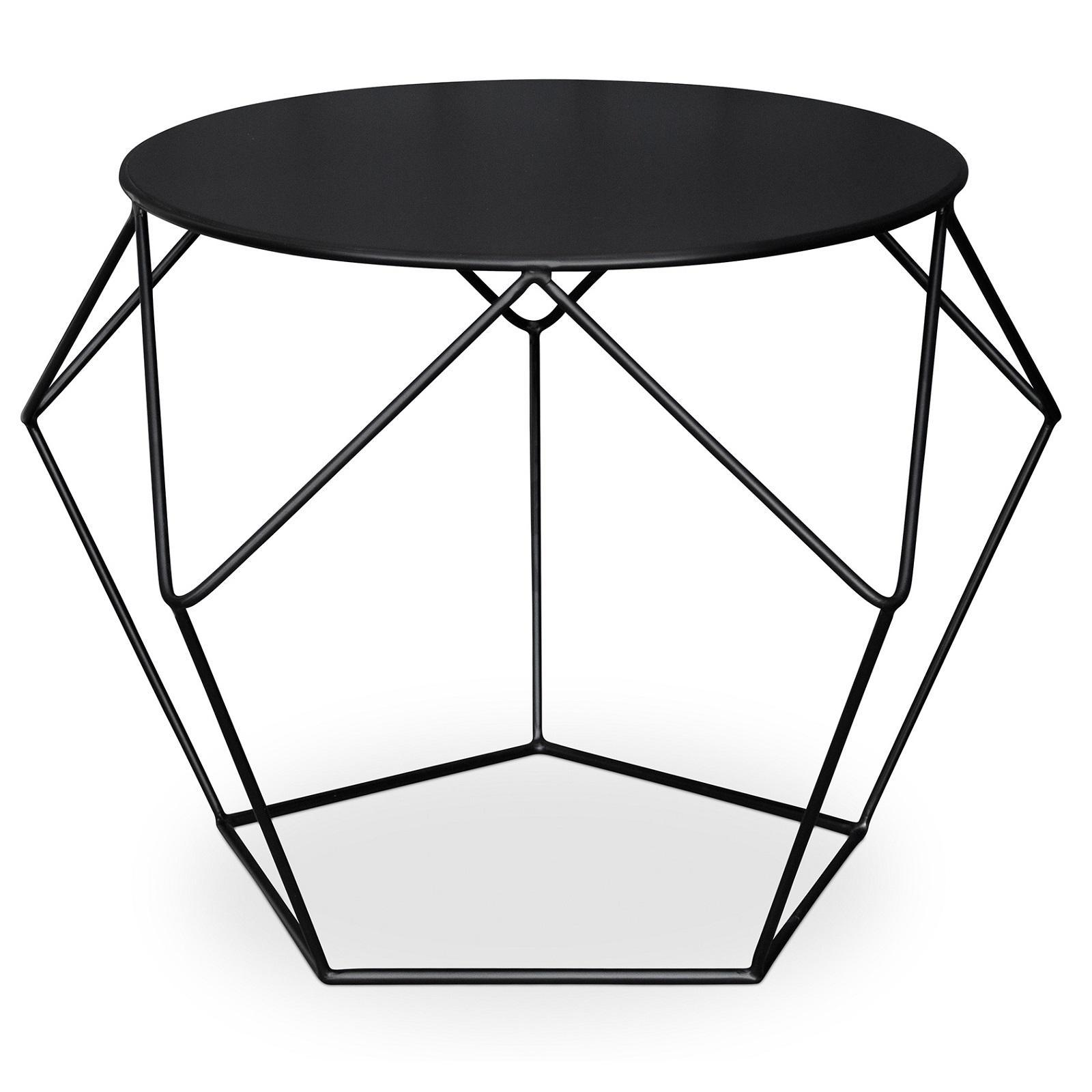 table d 39 appoint m tal noir diamant. Black Bedroom Furniture Sets. Home Design Ideas