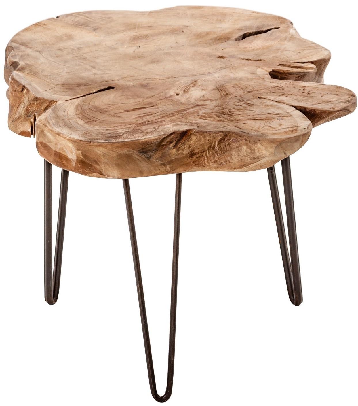 table d 39 appoint ronde ethnique racine de teck clair vieilli adrien. Black Bedroom Furniture Sets. Home Design Ideas