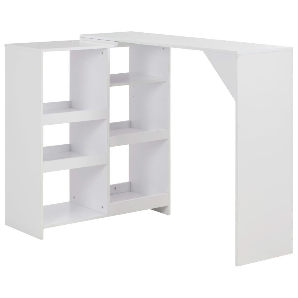 Table de bar amovible avec rangement bois blanc Tekila | LesTendances.fr