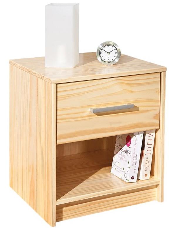 table de chevet 1 tiroir 1 niche pin massif naturel york. Black Bedroom Furniture Sets. Home Design Ideas