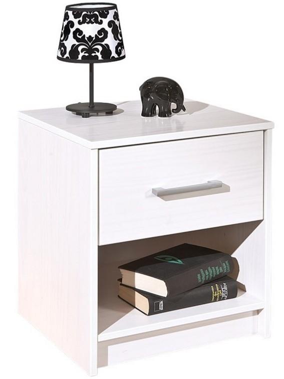 table de chevet 1 tiroir 1 niche pin massif blanc york. Black Bedroom Furniture Sets. Home Design Ideas