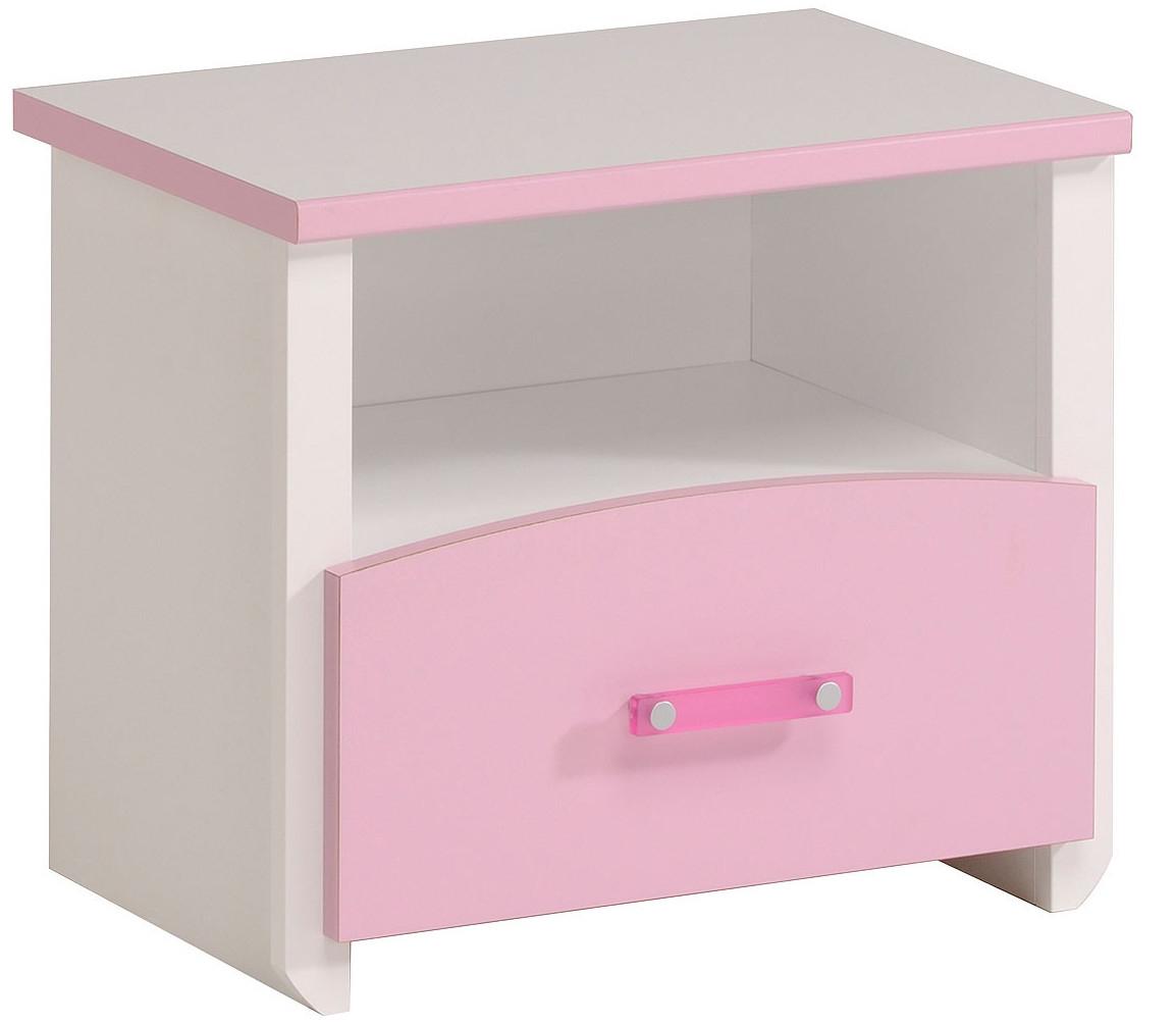 table de chevet 1 tiroir bois blanc et rose betty. Black Bedroom Furniture Sets. Home Design Ideas