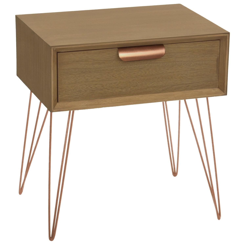 table de chevet 1 tiroir bois et m tal or rose james. Black Bedroom Furniture Sets. Home Design Ideas