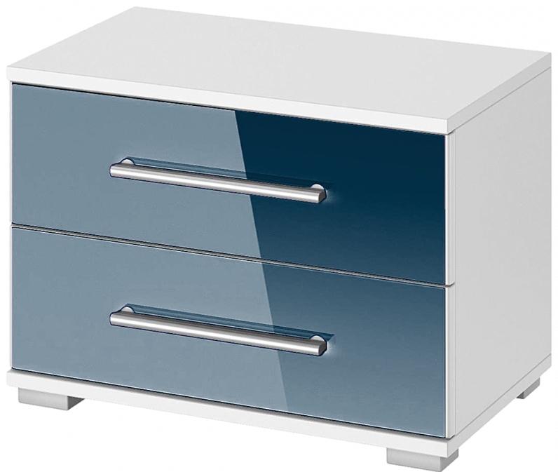table de chevet 2 tiroirs bleu sable quadra. Black Bedroom Furniture Sets. Home Design Ideas