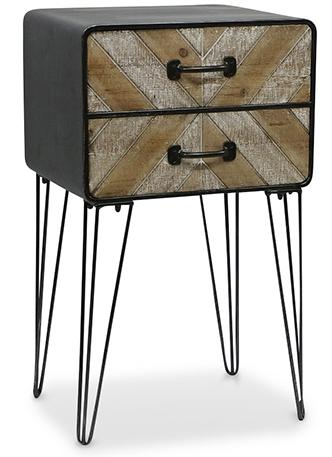 table de chevet 2 tiroirs bois naturel et m tal noir tryon. Black Bedroom Furniture Sets. Home Design Ideas