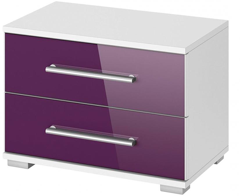 Table de chevet 2 tiroirs laqu violet quadra - Table de chevet laque ...
