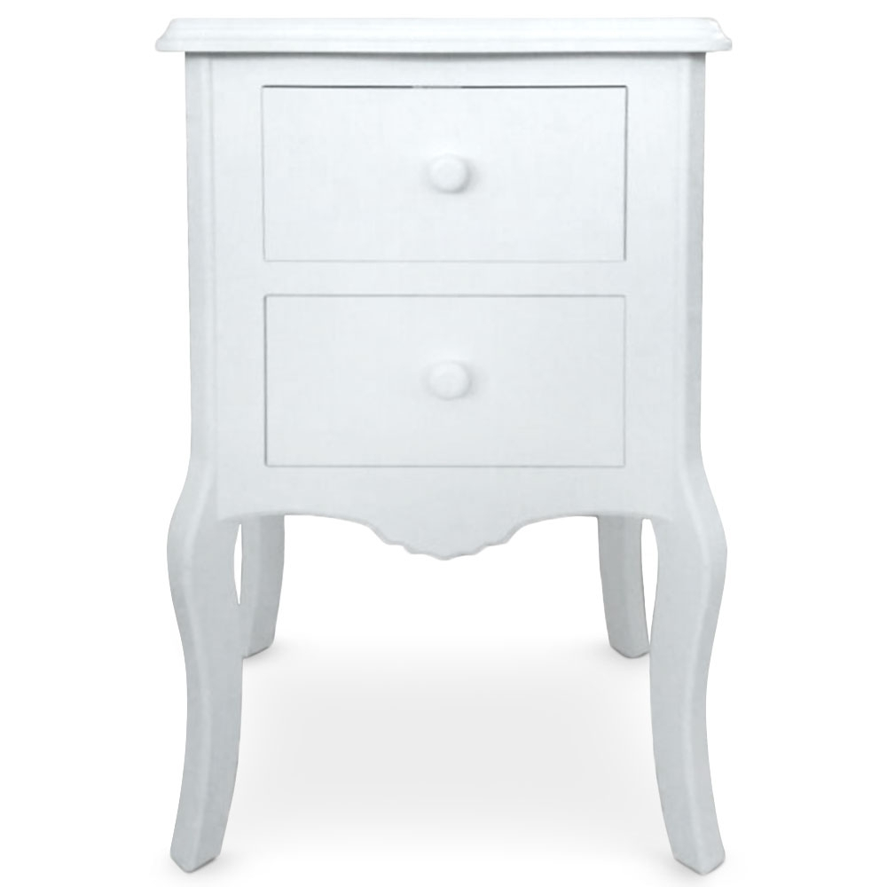 table de chevet 2 tiroirs retro blanc. Black Bedroom Furniture Sets. Home Design Ideas