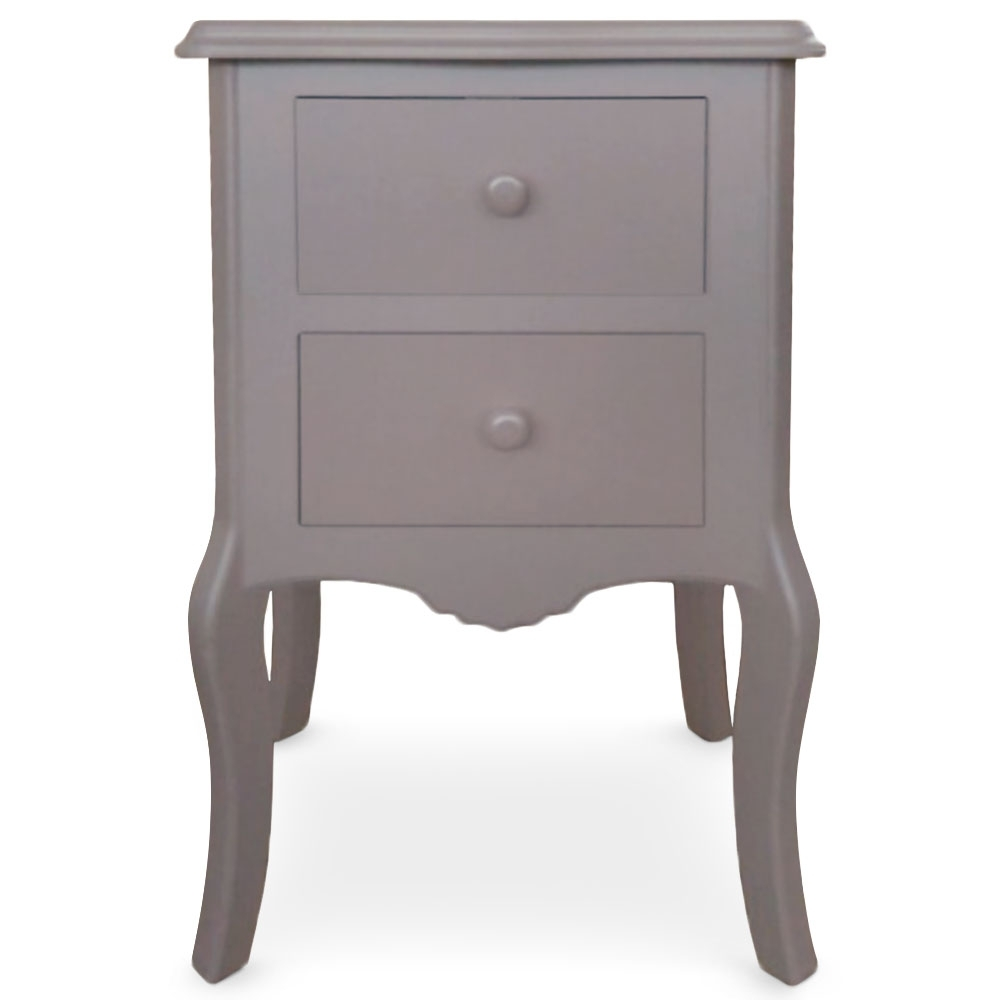 Table de chevet 2 tiroirs retro taupe - Chevet couleur taupe ...