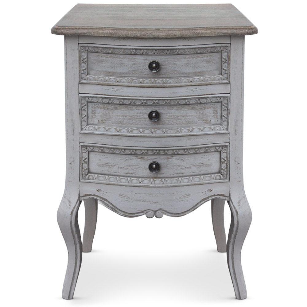 table de chevet 3 tiroirs gris renaissance. Black Bedroom Furniture Sets. Home Design Ideas