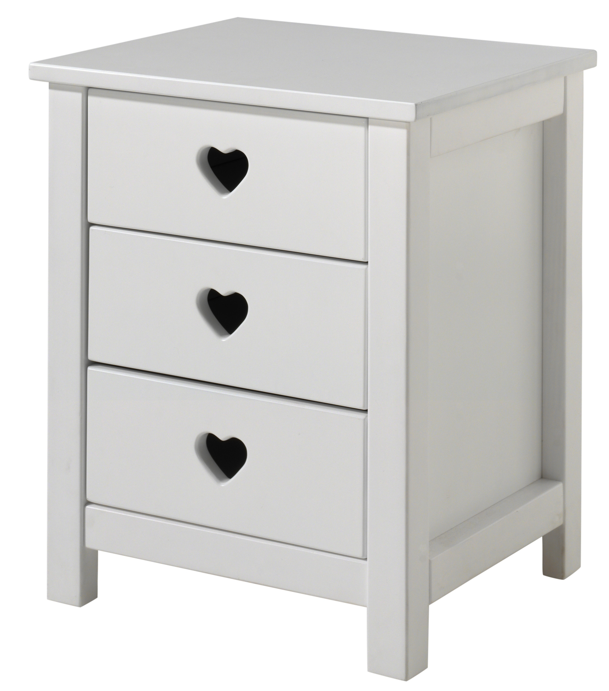 table de chevet 3 tiroirs laqu blanc coeur. Black Bedroom Furniture Sets. Home Design Ideas