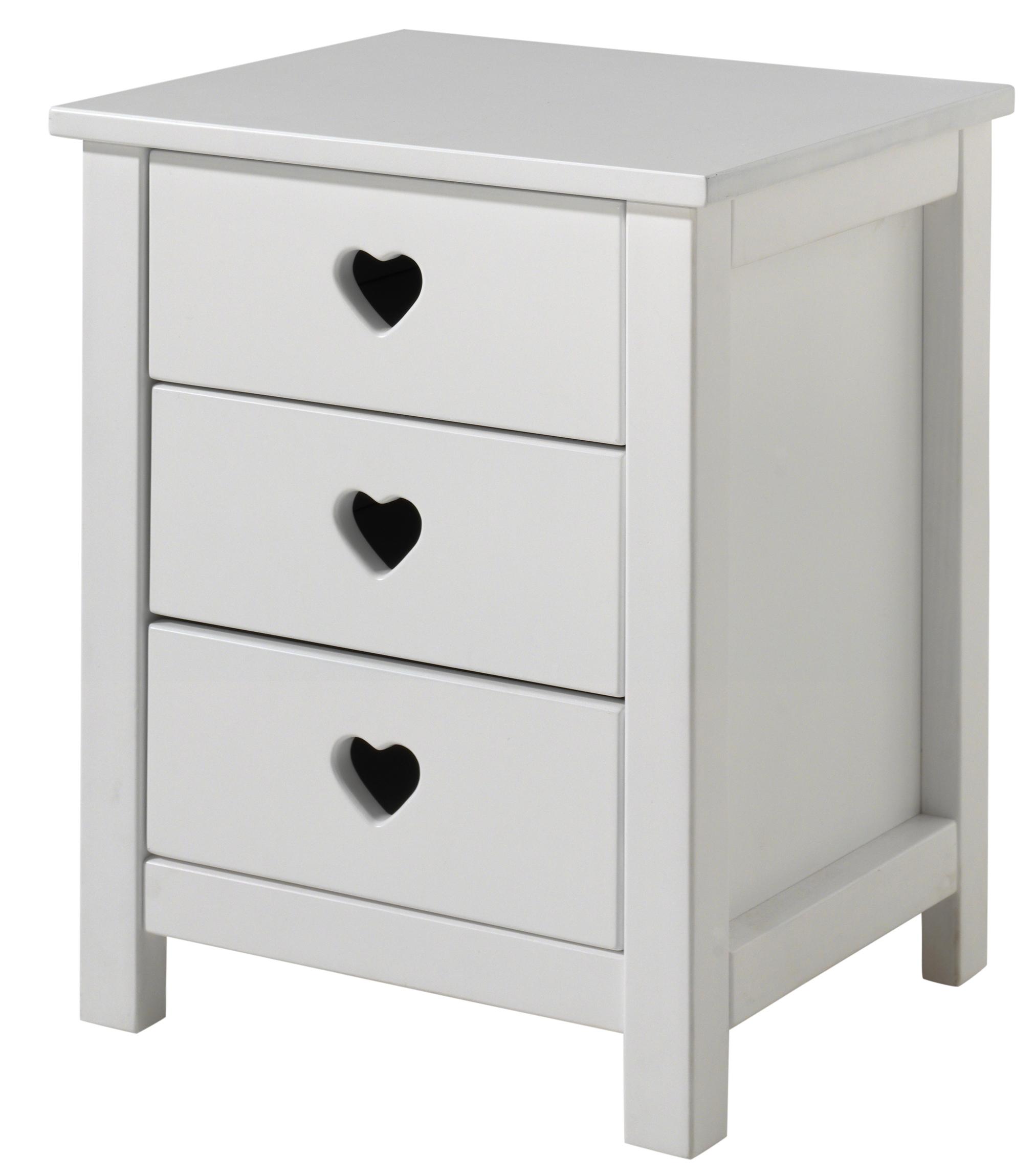 table de chevet 3 tiroirs laqu blanc coeur. Black Bedroom Furniture Sets. Home Design Ideas