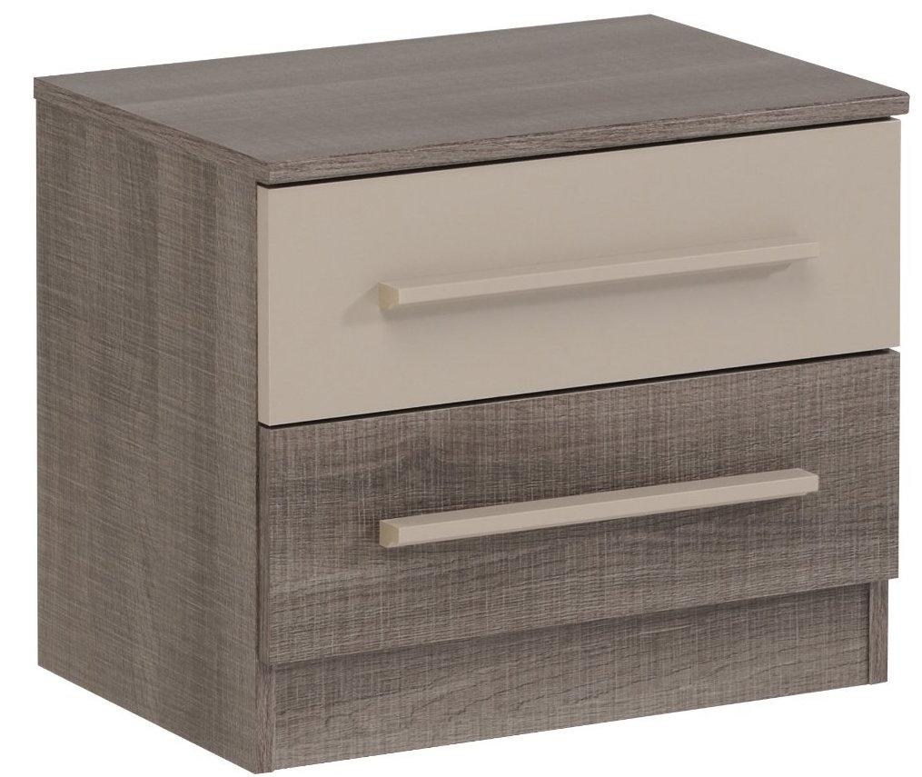 table de chevet 3 tiroirs marron et beige alexi lot de 2. Black Bedroom Furniture Sets. Home Design Ideas