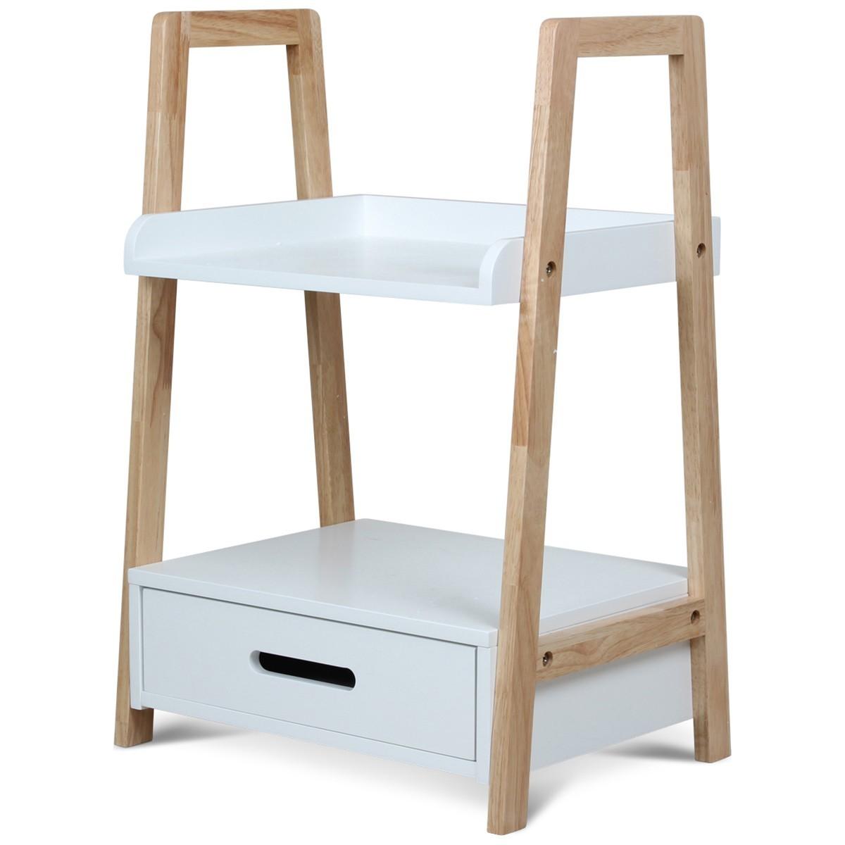 chevet naturel et blanc 1 tiroir 1 tablette oxork. Black Bedroom Furniture Sets. Home Design Ideas