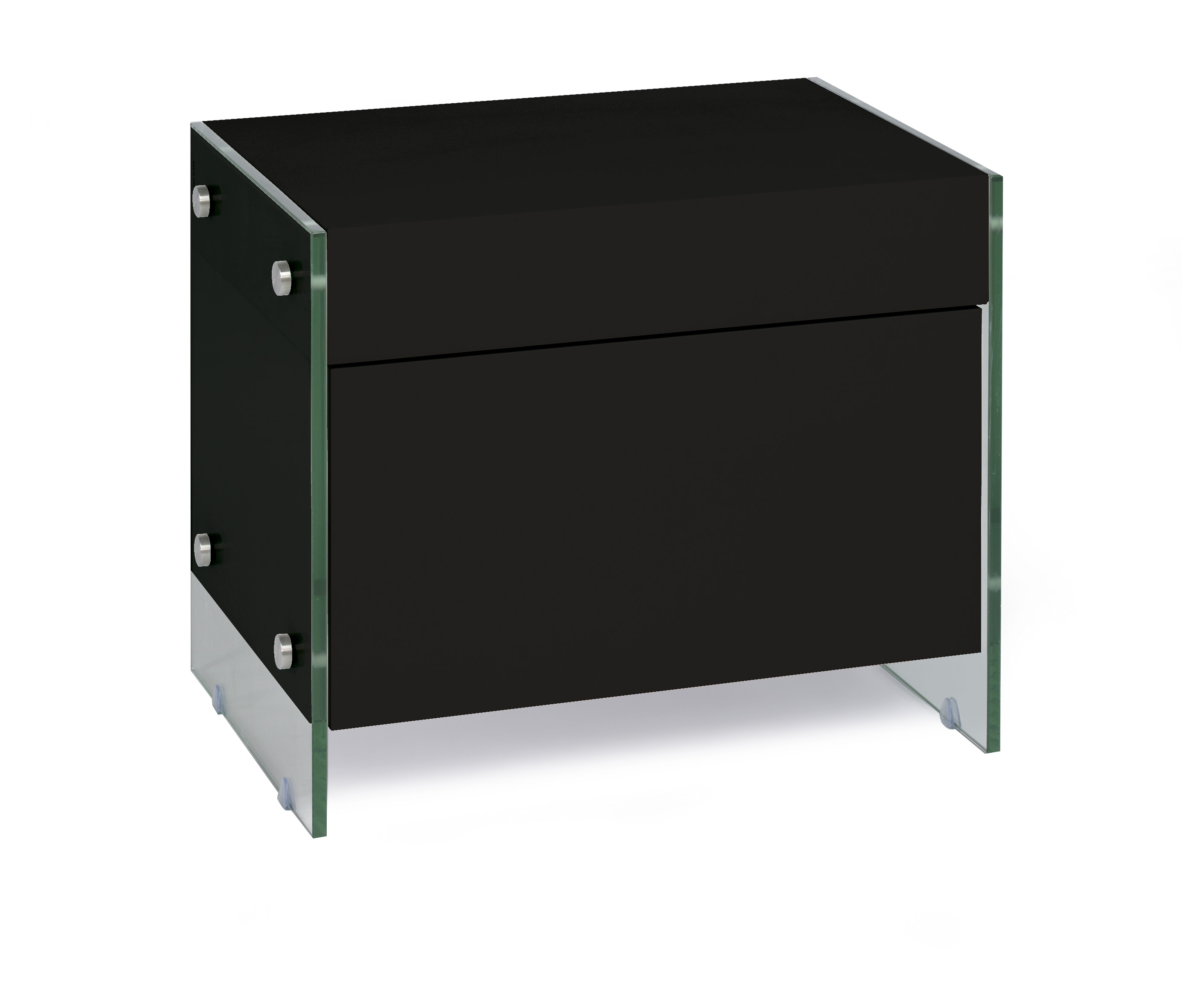 table de chevet design noir laqu cubique. Black Bedroom Furniture Sets. Home Design Ideas