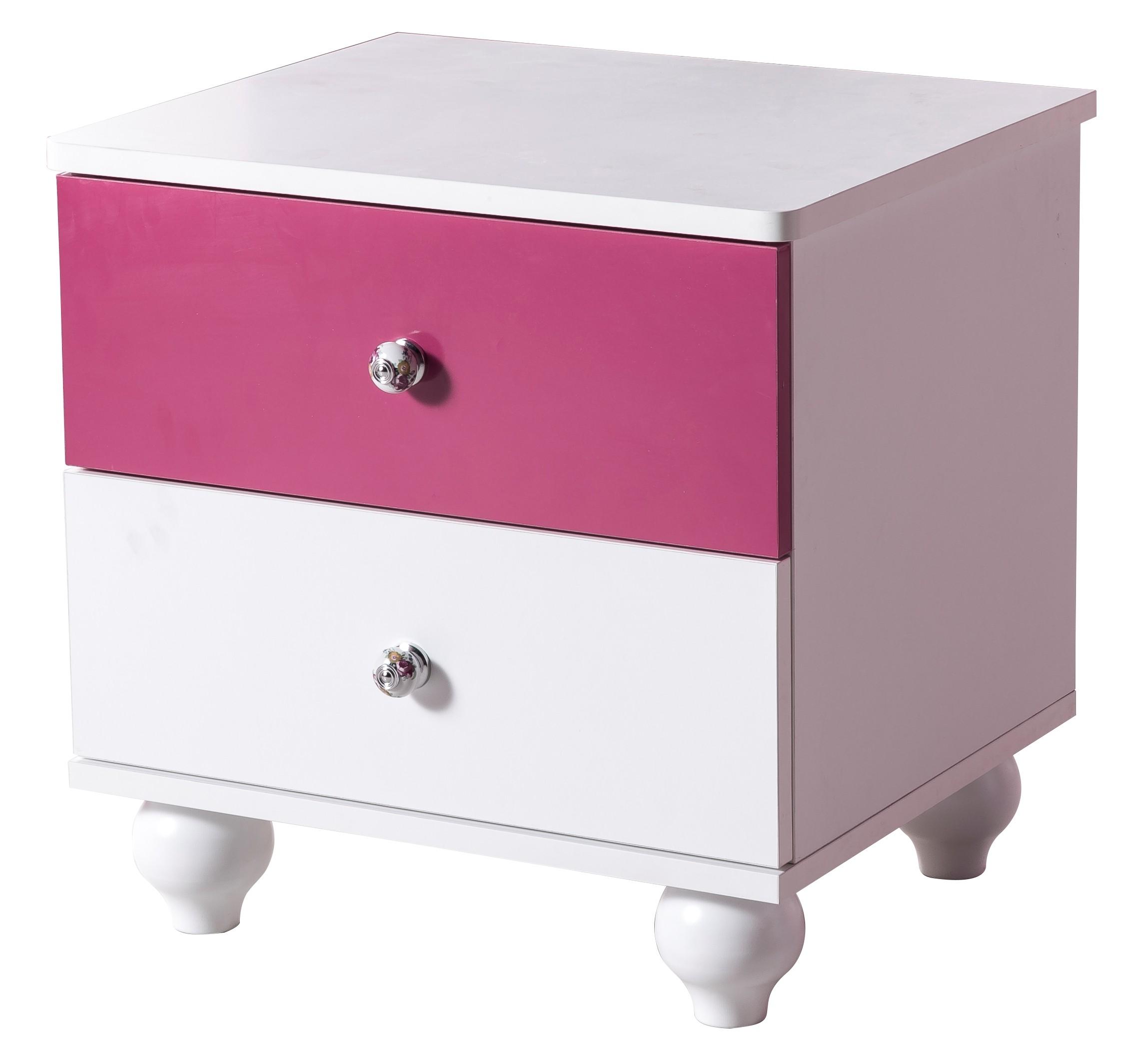 table de chevet fille blanc et rose girla. Black Bedroom Furniture Sets. Home Design Ideas