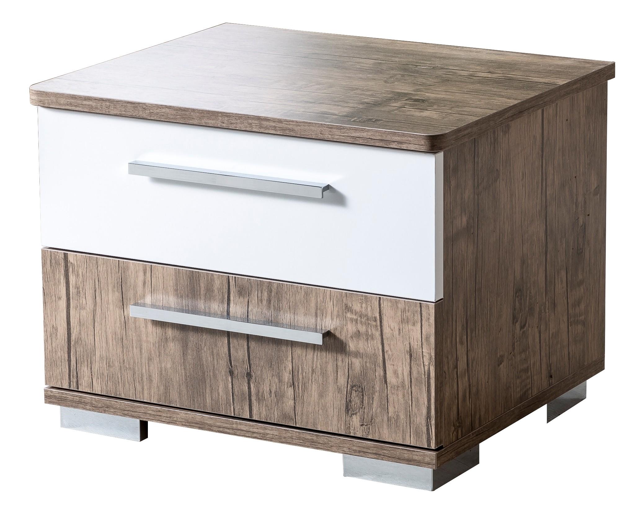 table de chevet gar on blanc et marron c dric. Black Bedroom Furniture Sets. Home Design Ideas
