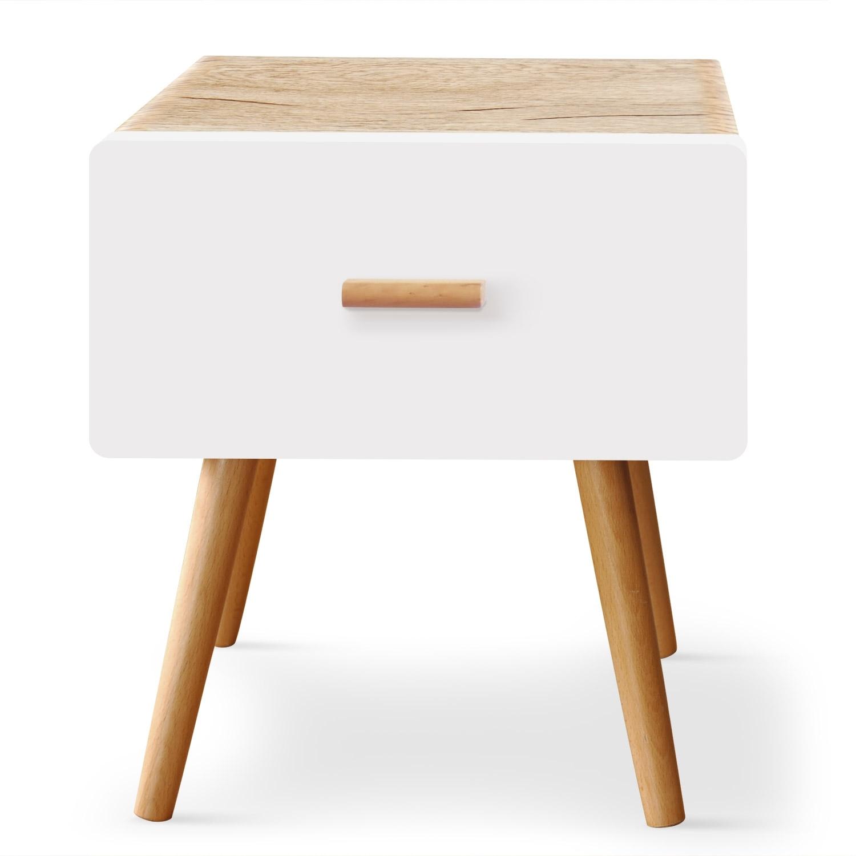 table de chevet ch ne clair et blanc scanda. Black Bedroom Furniture Sets. Home Design Ideas