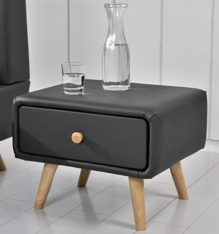 table de chevet scandinave simili cuir gris joy. Black Bedroom Furniture Sets. Home Design Ideas