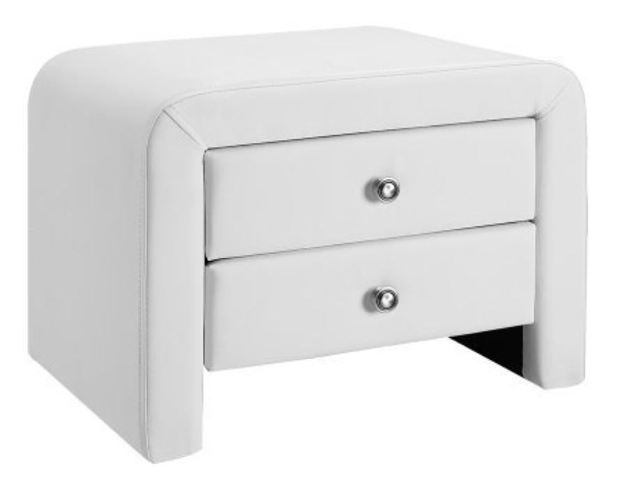 table de chevet simili cuir blanc sleepa. Black Bedroom Furniture Sets. Home Design Ideas