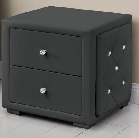 table de chevet simili cuir gris suny. Black Bedroom Furniture Sets. Home Design Ideas
