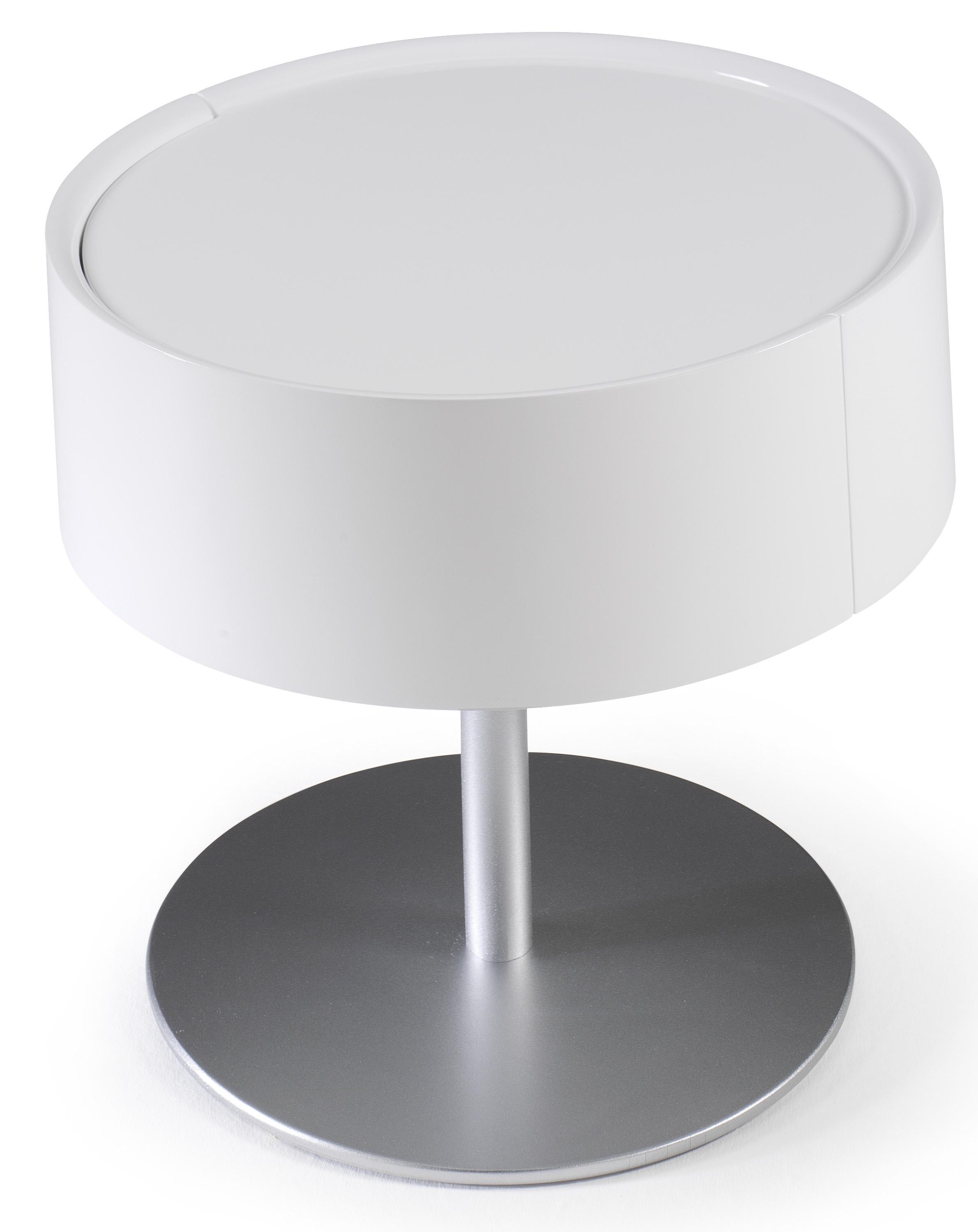 Table de chevet design blanc laqu torsada - Table de chevet blanc laque ...