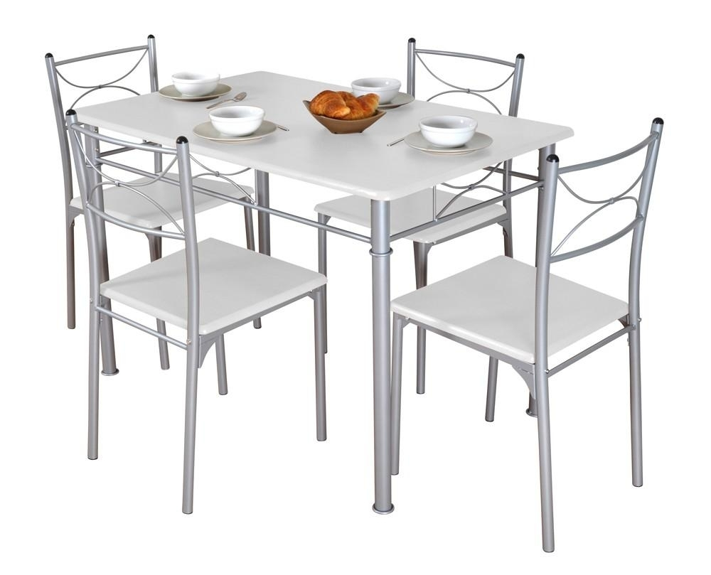 Table de cuisine blanche et 4 chaises tuti for Chaise de table blanche