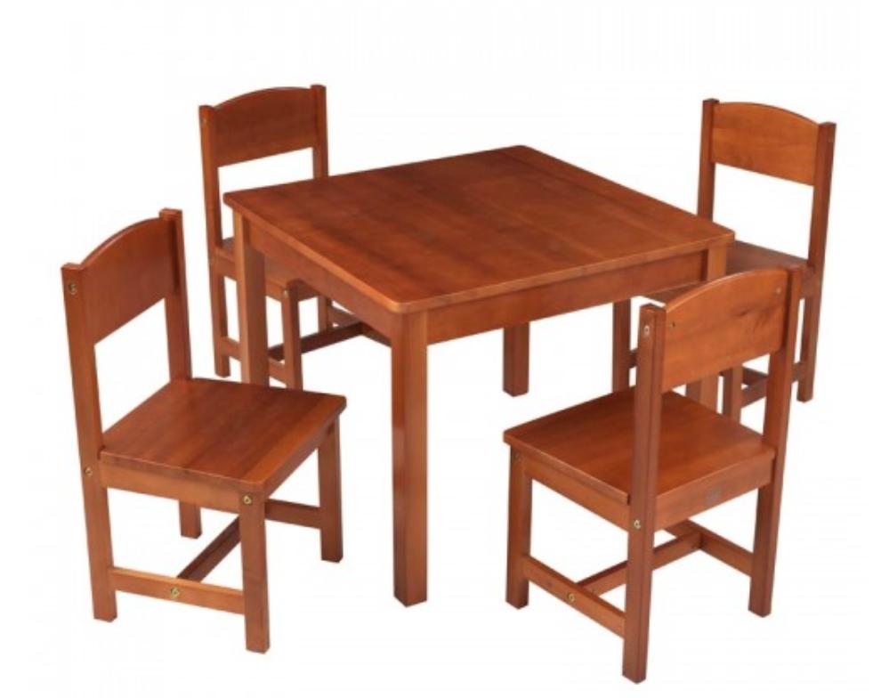 Table de ferme et 4 chaises brun kidkraft 21451 for Table et 4 chaises
