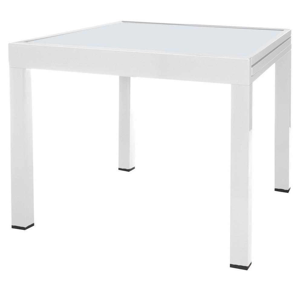 Table de jardin carrée extensible verre trempé et pieds métal blanc ...