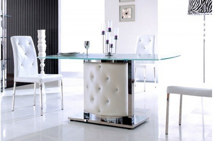 Table en verre pied capitonn simili blanc liza - Pied table salle a manger ...