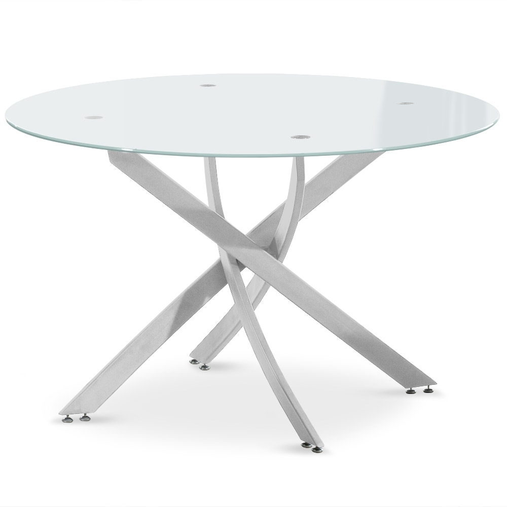 Table de s jour ronde en verre ruth for Table sejour