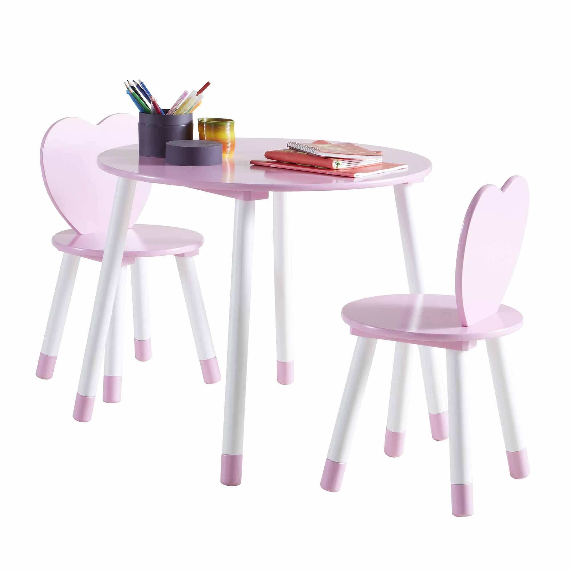 table et 2 chaises en bois blanc et rose princess. Black Bedroom Furniture Sets. Home Design Ideas
